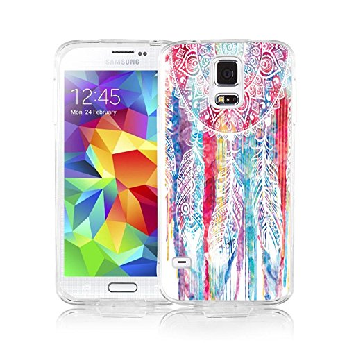 (S5 Case Samsung Galaxy S5 Case Viwell Soft Case Rubber Silicone Pink dreamcatcher)