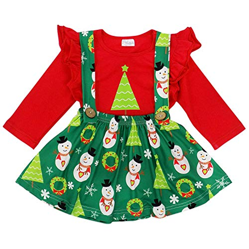 So Sydney Suspender Skirt 2 Piece Outfit, Girls Toddler Fall Winter Christmas Holiday Dress Up Boutique Outfit (S (3T), Snowman & Tree)