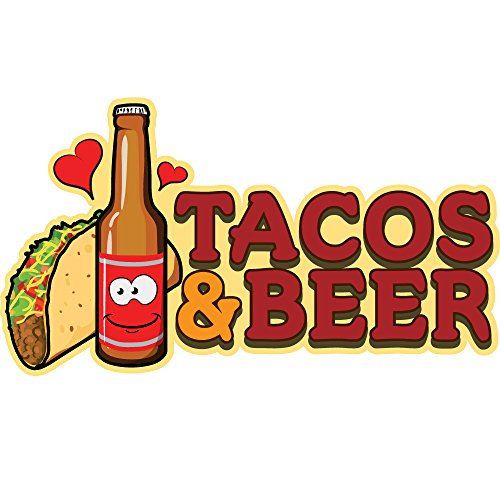 "TACOS & BEER 48"" Concession Decal sign cart trailer stand sticker equipment"