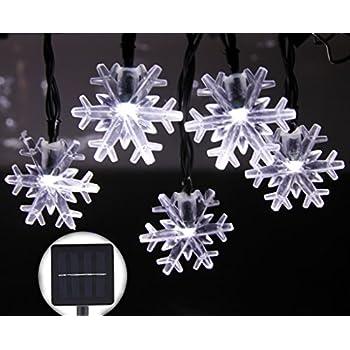 Amazon inngree solar string lights 20 ft 30 led snowflake inngree solar string lights 20 ft 30 led snowflake waterproof solar christmas fairy lights for outdoor aloadofball Gallery