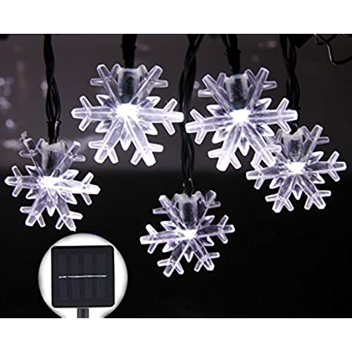 inngree solar string lights 20 ft 30 led snowflake waterproof solar christmas fairy lights for outdoor party gardens holiday christmas decorationswhite