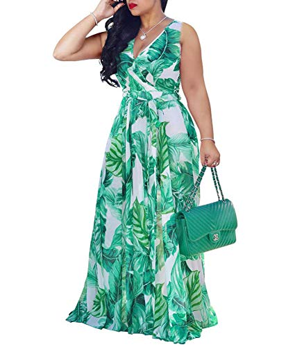 Women's Boho Wrap Maxi Dresses - Elegant Chiffon Belted Floral Long Dresses Belted X-Large Green Chiffon ()
