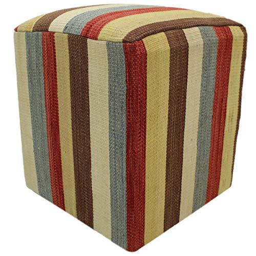 Arshs Fine Rugs Haney Ivory/Brown Handmade Kilim Upholstered Ottoman 16
