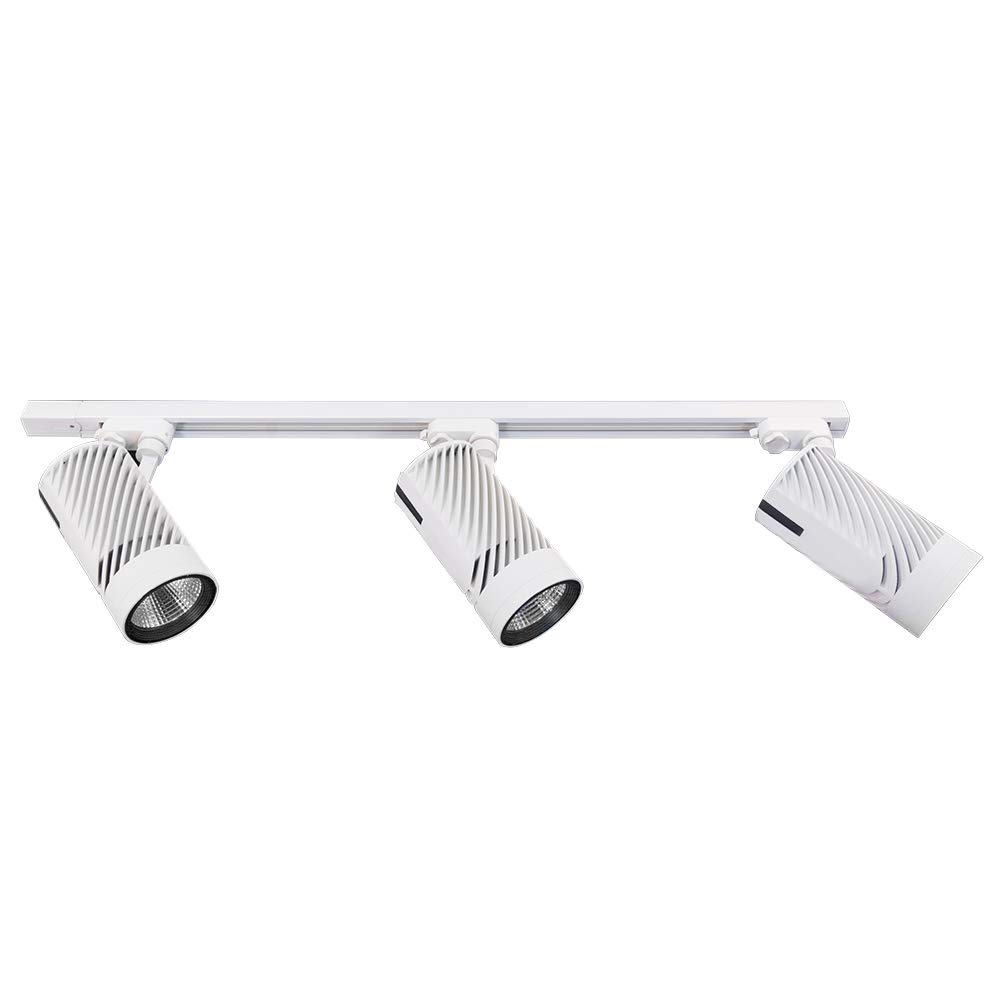 UPO Track Lighting Kit with 3-LED Light, Super Bright with 3000 Lumens 4000K High-end Commercial Track Lights, Advanced Material, Easy to Install, ETL & CTEL Certification, White