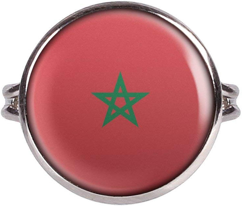 Anillo con Motivo Bandera de Marruecos Marruecos Rabat Plata Diferentes tamaños