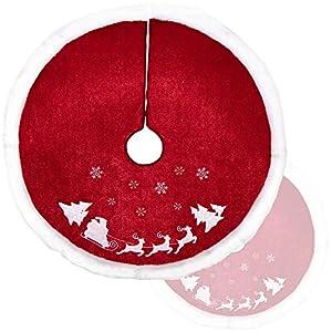 com-four® Coperta per Albero di Natale di Alta qualità per la Protezione dagli Aghi di Pino - Coperta Rotonda per Albero di Natale per L'Albero di Natale - Sottofondo con Motivo Natalizio 2 spesavip