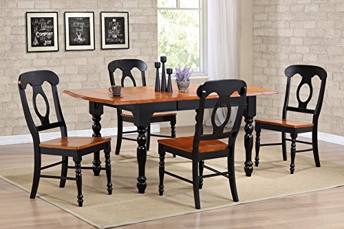 Sunset Trading DLU-TDX3472-C50-BCH5PC 5 Piece Drop Leaf Extension Dining Table Set with Napoleon Chairs, Antique Black/Cherry