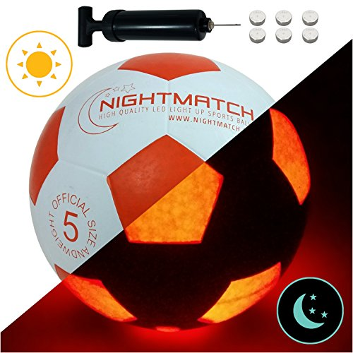 NIGHTMATCH Light Up Soccer Ball INCL. Ball Pump and Spare Batteries - White Edition - Inside LED Lights up When Kicked - Glow in The Dark Soccer Ball - Size 5 - Official Size & Weight - White/Orange -