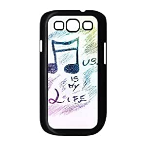Vinceryshop Music Samsung Galaxy S3 Case Hand Painted Music Is My Life for Guys, Samsung Galaxy S3 Case Cute for Guys [Black]