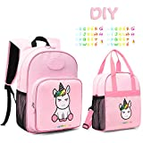 MOMMORE Cute Unicorn Kids Backpack with Insulated Lunch Bag for Girls, 2 Piece Set, Pink
