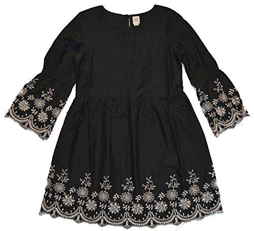GAP Kids Girls Black Floral Embroidered Bell Sleeve Dress Medium 8