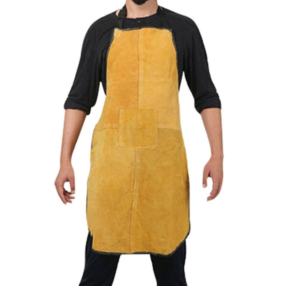 Bib Apron Weld Premium Yellow Split Cowhide Leather Welding Apron 24-Inch x 36-Inch
