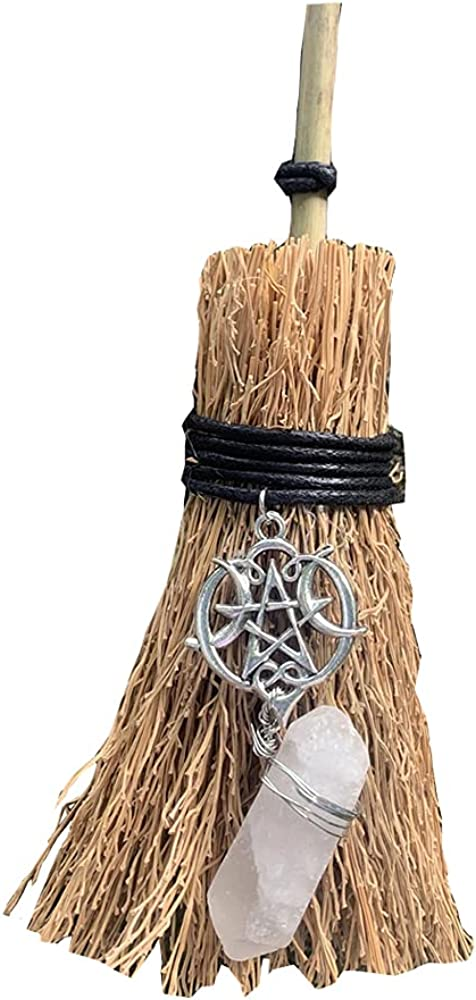 Crystal Witch Wiccan Altar Broom -Mini Wicca Car Trim Pendant Crystal Wand Points Broom Healing Home Halloween Decor