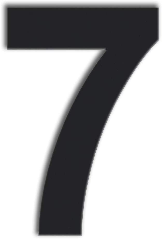 QT Modern House Number - Large 8 Inch Black - Stainless Steel (Number 7 Seven), Floating Appearance, Easy to Install and Made of Solid 304