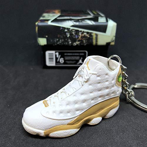 Air Jordan XIII 13 Retro Wheat White Brown OG Sneakers Shoes 3D Keychain 1:6 Figure + Shoe Box (Air Jordan 13 Xiii Retro Wheats White Wheat)