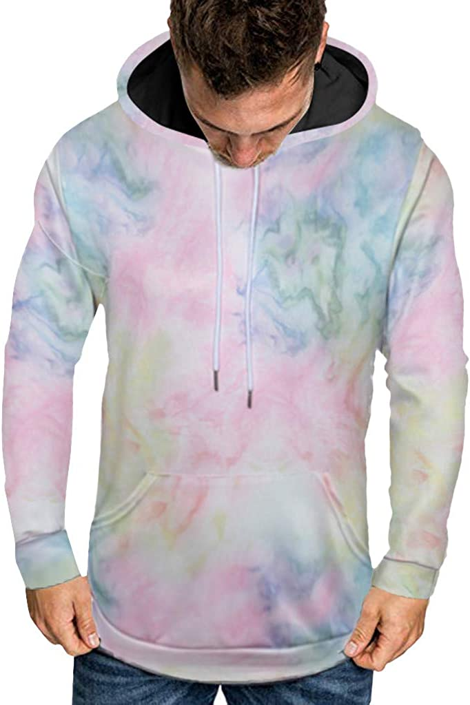 Mens Long Sleeve Tie Dye Slim Fit Casual Hoodie Comfortable Pullover Sweatshirt Tops for Autumn