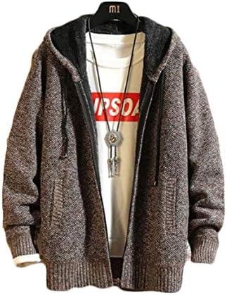 (ショッフェ) ニットカーディガン メンズ ジップアップ セーター ニット 厚手 裏起毛 ボア あったか ジャケット アウター フード付き 防寒着 カジュアル シンプル
