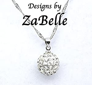 Shamballa Sterling Silver Disco Ball Charm Pendant Necklace