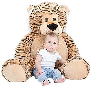 "Amazon.com: Jumbo Plush Animal, Large 49"" Tiger Stuffed"