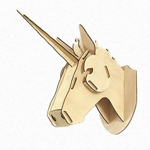 - LianLe DIY 3D Unicorn Head Model Puzzle Wall-mounted Wooden Kit for Children Mental Exercises / Wall Art Décor,A