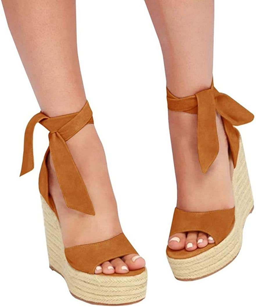 Seraih Womens Lace up Platform Wedges Sandals Classic Ankle Strap Shoes