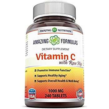 Amazing Formulas Vitamin C with Rose Hips Dietary Supplement - Non-GMO 1000 Mg 240 Tablets - Provides Immune & Healthy Aging Support – Antioxidant Support - Part of a Healthy Balanced Diet*