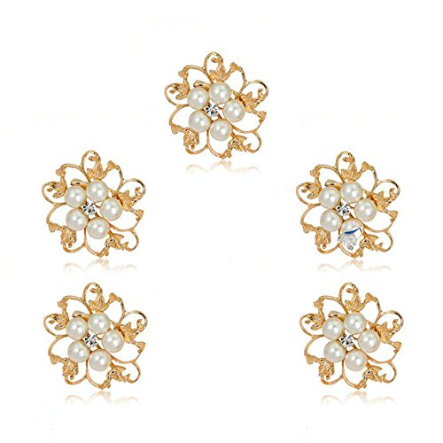 Ezing 5pcs White Faux Pearl Flower Brooch Round Shape (Gold Plated)