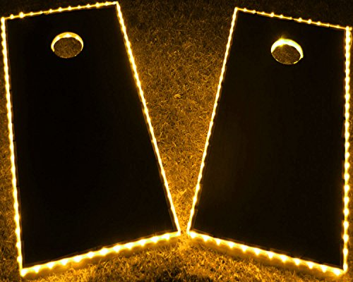 GlowCity LED Cornhole Board Lights - Ultra Bright Lights for Corn Hole and Board, Fits 2 x Boards - Waterproof and Durable Cable Ideal for Family Outdoor Games or Backyard Glow in Dark Fun (Yellow)
