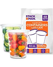 Stack Man Plastic Food Storage Deli Containers with Airtight Lids