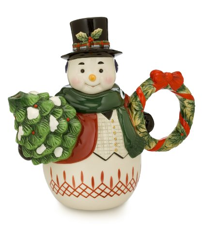 Waterford Holiday Heirlooms Jolly Plaid Snowman Teapot, 8.5 Inches High