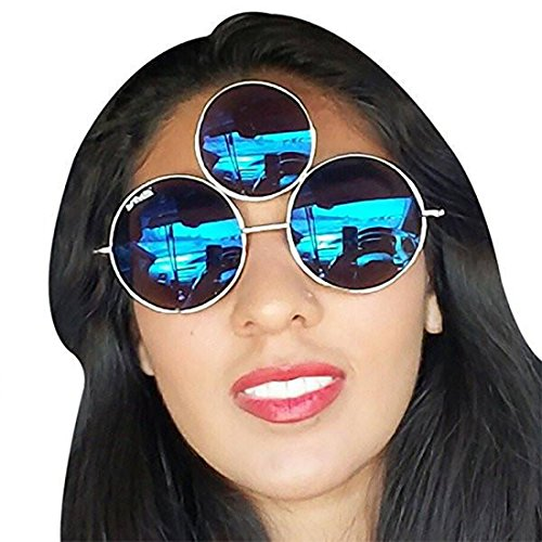 Womens 3 Eye (Third Eye Sunglasses by Shivas Includes Free Case. Prince Tribute And EDC Style)