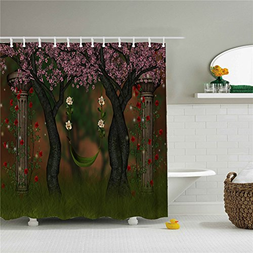 Cherry Tree And Swings Shower Curtain Set 66