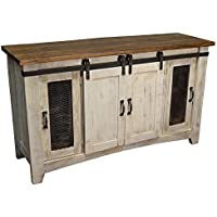 Anton Distressed White Sliding Barn Door Farmhouse 60 Inch Tv Stand With Brown Wood Top And Hand Forged Custom Handles. Fully Assembled Shabby Chic Console (White, 60)