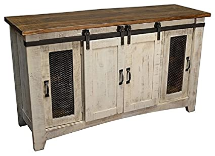 burlesonhomefurnishings anton distressed white sliding barn door farmhouse 60 inch tv stand with brown wood top - Distressed White Tv Stands