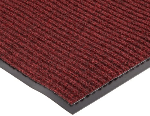 """NoTrax 109 Brush Step Entrance Mat, for Lobbies and Indoor Entranceways, 3' Width x 6' Length x 3/8"""" Thickness, Red/Black"""