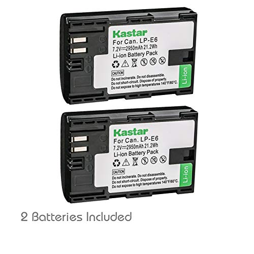 Kastar Battery 2 Pack for Canon LP-E6 LP-E6N, Canon EOS 60D 60Da EOS 70D XC10, EOS 5D Mark II 5D Mark III 5D Mark IV, EOS 5DS 5DS R, EOS 6D 7D Mark II and BG-E14 BG-E13 BG-E11 BG-E9 BG-E7 BG-E6 Grip
