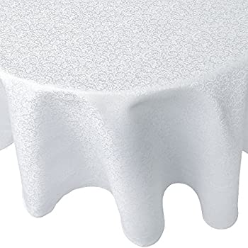 Amazing R.LANG Tablecloth Oval 52 X 70 Inch Spillproof Jacquard Tablecloth Bleach  White