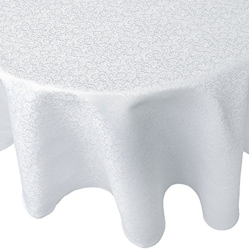 R.LANG Tablecloth Oval 60 x 84-inch Spillproof Jacquard Tablecloth Bleach White