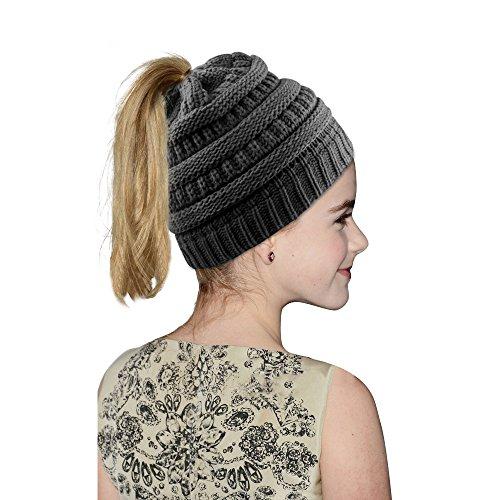 Hootech Winter Warm Knitted Ponytail Beanie Hat Messy High Bun Beanie Soft Stretch Cap - DarkGrey