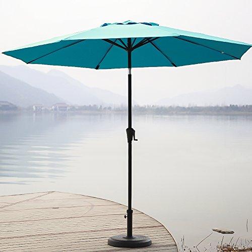 C-Hopetree 9 Foot Aluminum Market Umbrella, Auto Tilting Patio Umbrella for Outdoor Table with 8 Steel & Fiberglass Ribs for Wind Resistant, Light Blue