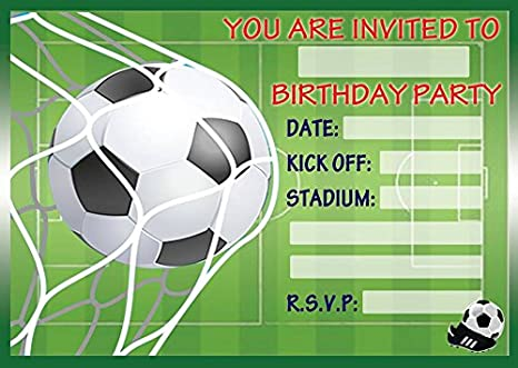 Image Unavailable Not Available For Colour FOOTBALL CHILDRENS BIRTHDAY PARTY INVITES