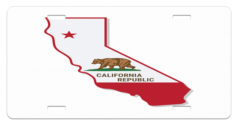 Amazon.com: Lunarable California License Plate, Golden State Flag on on