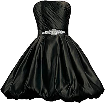 ANTS Womens Strapless Fluffy Short Prom Dresses Satin Dress Size 2 US Black