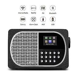 LEMEGA M2+ Table Smart Radio with Wi-Fi, Internet Radio, Spotify, Bluetooth, DLNA, FM Radio, Clock, Alarms, Presets, and Wireless App Control. (Black Oak)