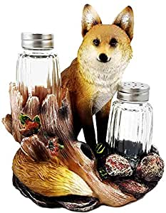 Urban Scavengers Red Fox Figurine Salt Pepper Shakers Holder Stand Dining Table Centerpiece