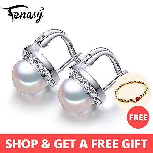 Pearl Jewelry Natural Pearl Earrings Freshwater Pearl Earrings for Women 925 Sterling Silver - new Trendy Stud Earrings - Pink