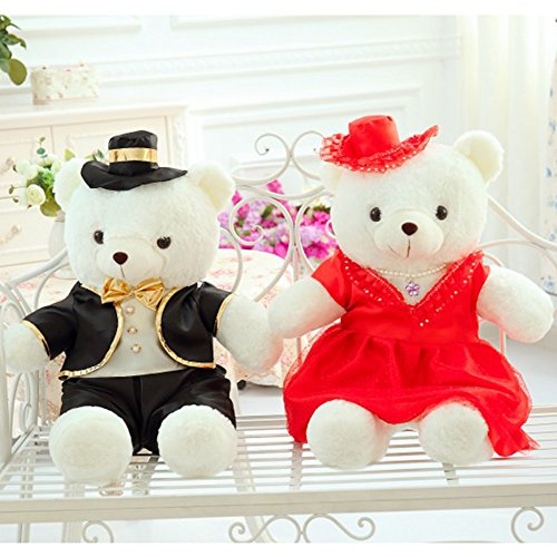 Yxcsell Wedding Ceremony   Anniversary Couple White Cute Soft Plush Stuffed Animals Small Teddy Bear Fur Bride In Red And Groom In Black 16