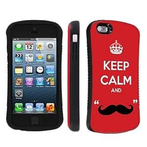 NakedShield Apple iphone 5C / 5S / 5 Keep Calm Mustache Heavy Duty Shock Proof Armor Art Phone Case