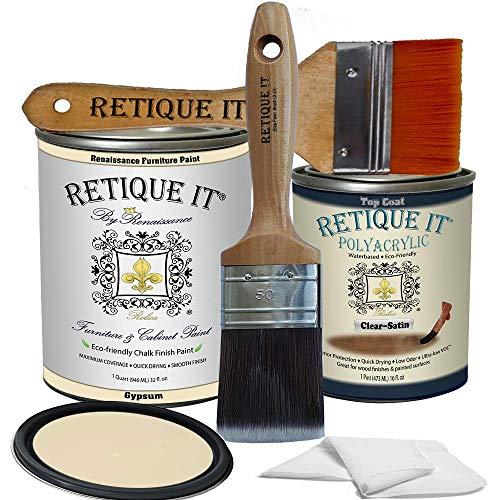 Retique It Chalk Furniture Paint by Renaissance DIY, Poly Kit, 21 Gypsum, 32 Ounces