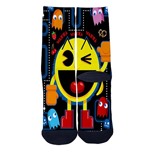 Adults PacMan and Ghost Socks Colorful Patterned Custom Crew Socks, 2 Sizes